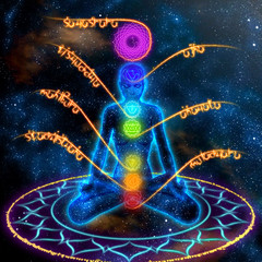System of human chakras on  abstract space background