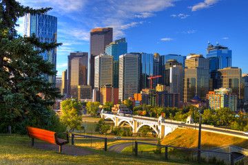 HDR The City of Calgary Skyline at Sunrise