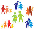 happy family icons collection multicolored
