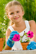 Gardening - lovely girl planting flowers