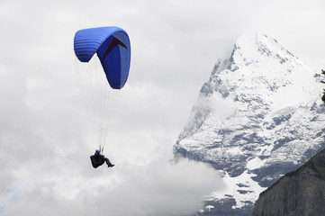 Hang-glider against the Eiger in Swiss Alps