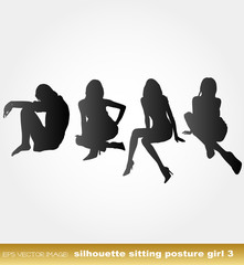 eps Vector image:silhouette sitting posture girl 3