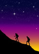 Climbing a mountain on stars background