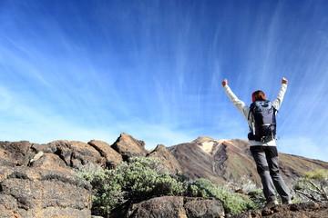 Hiker cheering
