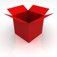Opened red box on white with shadow. concept of award and gift