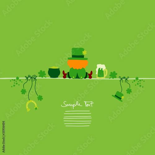 St. Patrick´s Day Sitting Leprechaun & Symbols