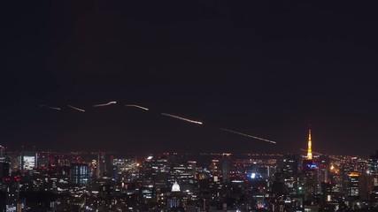 東京タワーと飛行機の軌跡 TimeLapse
