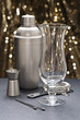 Highball glass with bartender tools