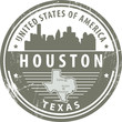 Stamp with name of Texas, Houston, vector