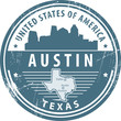Stamp with name of Texas, Austin, vector i