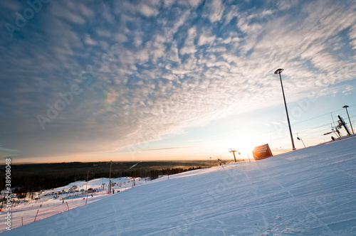 Ski resort slope at sunrise