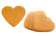 Gingerbread hearts isolated on white