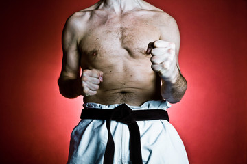 Karate training, sport and fitness in gym