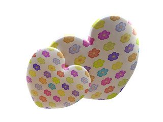 Hearts with Flower Texture