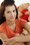 Portrait of schoolgirl at home