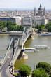 view of chain bridge in Budapest, Hungary