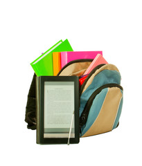 Electronic book with books in backpack