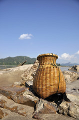 Bamboo Basket Creel Fish Sand River