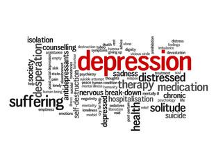 """DEPRESSION"" Tag Cloud (depressed health mental illness suicide)"