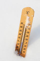 Thermometer in the snow