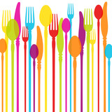 Fototapety Cutlery Background Colours