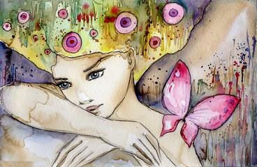 piękna dziewczyna z motylem © bruniewska