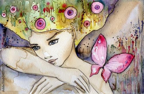 Fototapeta piękna dziewczyna z motylem