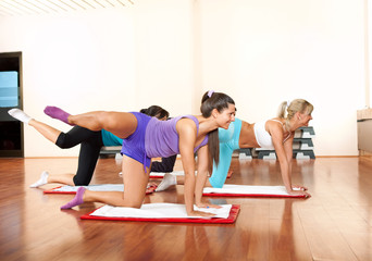 group of young women exercising