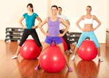 group of people  doing  exercises in a gym
