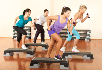 Stepping with dumbbells