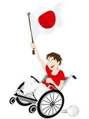 Japan Sport Fan Supporter on Wheelchair with Flag