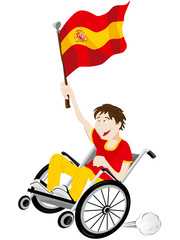 Spain Sport Fan Supporter on Wheelchair with Flag