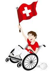 Switzerland Sport Fan Supporter on Wheelchair with Flag