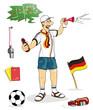 Fussballfan Deutschland mit Utensilien_freisteller*vektor