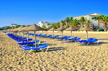 Sandy beach with beds and sun umbrellas
