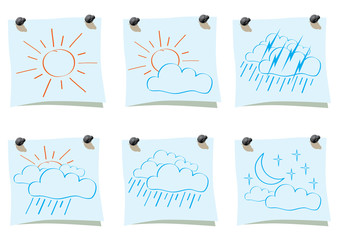 Sticker with weather drawing.
