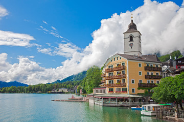 Village St. Wolfgang on the lake Wolfgangsee Austria