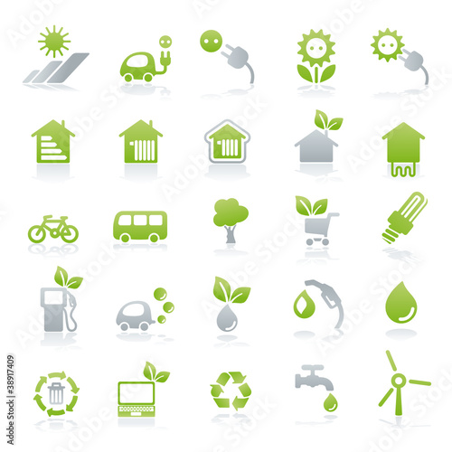vector iconset energy + green lifestyle