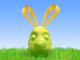 Easter green egg - a hare