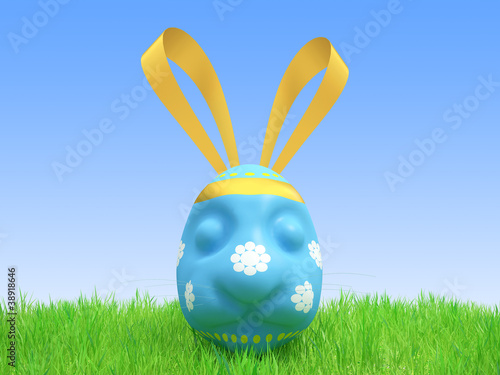 Easter blue egg - a hare