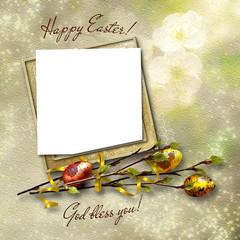 Framework for greeting or invitation. The easter background.