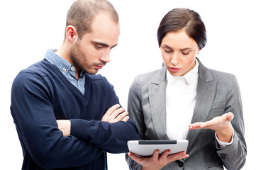 Business people meeting using tablet computer