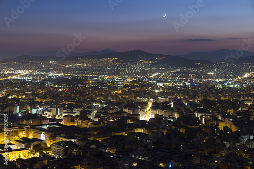 Athens by night aerial view