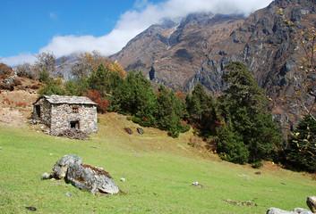 Tradional Nepali house, Khumbu region, Sagarmatha national park