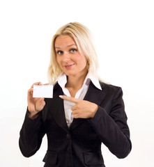 Business woman with the visit card