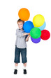 happy boy standing with balloons isolated on white background
