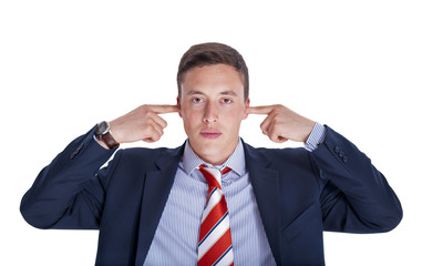 Businessman with ears closed