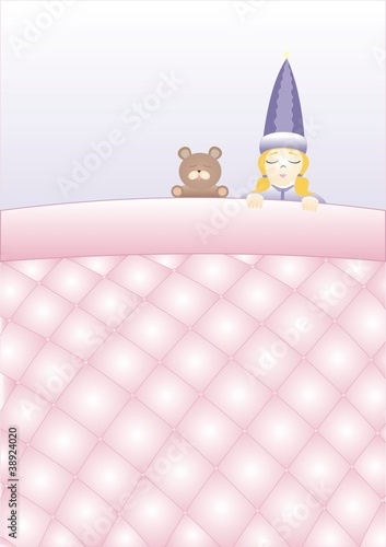 girl with a teddy bear sleeping under a blanket quilted