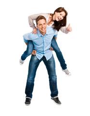 Junges Paar macht Topdaumen