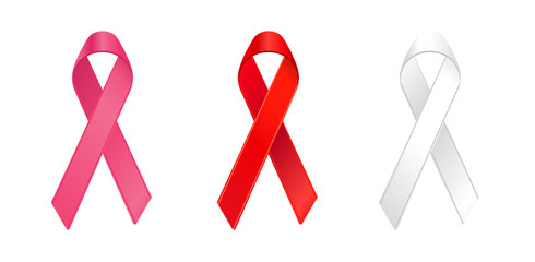 AIDS/heart disease, and lung cancer awareness ribbons